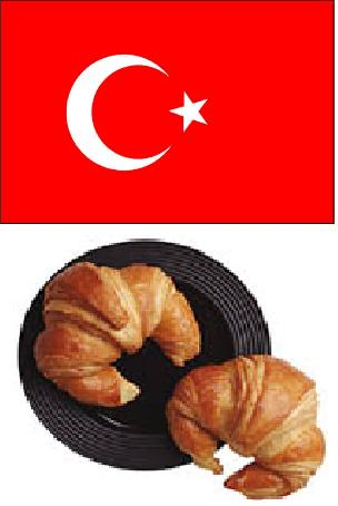 (Turkish flag on top, croissants on bottom.)